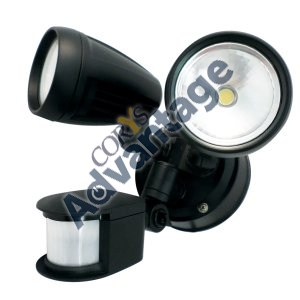 SPOTLIGHT LED ECO PIR 2X8W 220-240V IP44 BLACK LHT0244