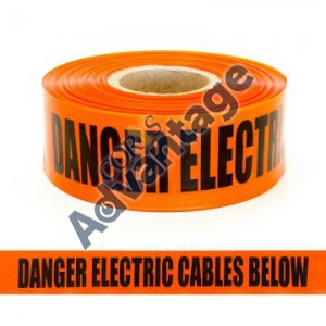 TAPE WARNING ELEC CABLE BELOW POWERNET ST100 ORA/BLK 100M