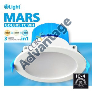 DOWNLIGHT LED RND DIM 10W CCT IC-F IP44 WHITE MARS