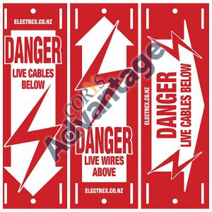 SIGN DANGER LIVE WIRES / CABLES 2 SIDED MIX DSMIX